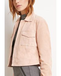 Forever 21 - Natural Contemporary Genuine Suede Open-front Jacket - Lyst