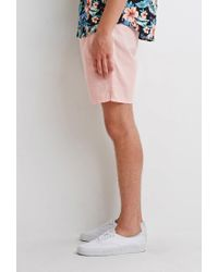 Forever 21 - Pink Linen-blend Drawstring Shorts for Men - Lyst