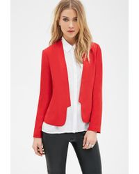 Forever 21 | Red Collarless Open-front Blazer | Lyst