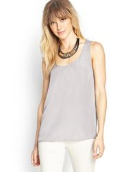 Forever 21 - Gray Contemporary Sheer Back Chiffon Tank - Lyst