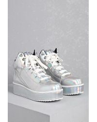 81780658f2a Lyst - Forever 21 Y.r.u. Qozmo Holographic Sneakers in Metallic