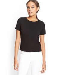 Forever 21 - Black Textured Houndstooth Top - Lyst