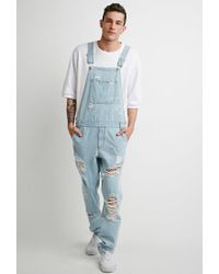 a111509f05b Lyst - Forever 21 Light Wash Distressed Overalls in Blue for Men