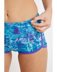 Forever 21 - Blue Abstract Print Workout Shorts - Lyst
