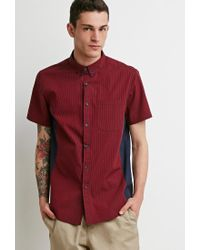 Forever 21   Red Colorblock Micro-stripe Shirt for Men   Lyst