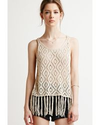 Forever 21 | Natural Fringed Diamond-patterned Sweater | Lyst