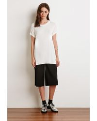 Forever 21 - White Heathered Cuff-sleeve Tee - Lyst