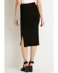 Forever 21 | Black Ribbed Side-zipper Midi Skirt | Lyst