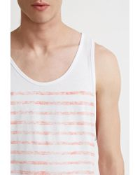 Forever 21 - White Faded-stripe Tank for Men - Lyst