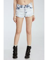 Forever 21 | Blue Cloud Wash Distressed Cutoffs | Lyst