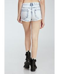 Forever 21 - Blue Cloud Wash Distressed Cutoffs - Lyst