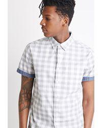 Forever 21   White Chambray-trimmed Gingham Shirt for Men   Lyst