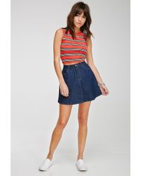 Forever 21 - Red Ribbed Stripe Crop Top - Lyst