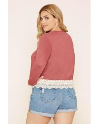 Forever 21 - Pink Plus Size Crochet-trimmed Slub Knit Top - Lyst