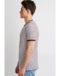 Forever 21 - Purple Striped Linen Ringer Tee for Men - Lyst