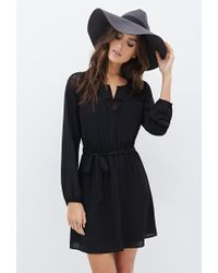 Forever 21 - Black Contemporary Floral Lace Belted Dress - Lyst