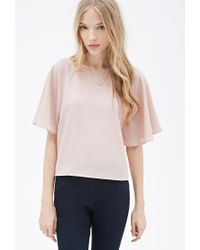 Forever 21 - Brown Boxy Angel-sleeved Blouse - Lyst