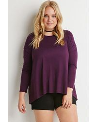Forever 21 | Purple Plus Size Chiffon-paneled Dropped Hem Top | Lyst