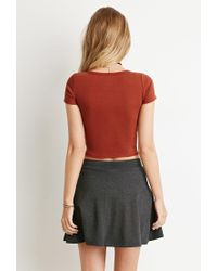 Forever 21 - Brown Button-front Crop Top - Lyst