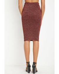Forever 21 - Red Metallic Knit Sweater Skirt - Lyst