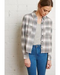 Forever 21 | Gray Boxy Plaid Shirt | Lyst