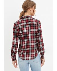 Forever 21 - Purple Tartan Plaid Flannel Shirt - Lyst