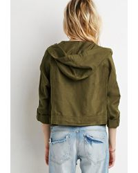 Forever 21 - Green Boxy Hooded Utility Jacket - Lyst