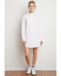 Forever 21 - White Pocket Shirt Dress - Lyst
