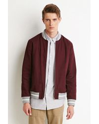 Forever 21 - Purple Zip-front Varsity Jacket for Men - Lyst