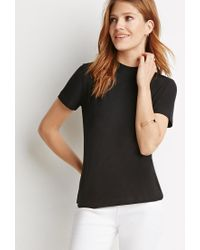 Forever 21 - Black Contemporary Mock-neck Top - Lyst