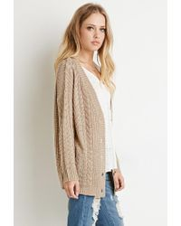 Forever 21 | Brown Buttoned Cable Knit Cardigan | Lyst