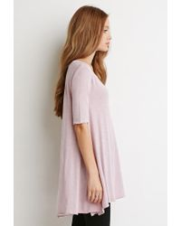 Forever 21 - Pink Raw-cut Longline Trapeze Tee - Lyst