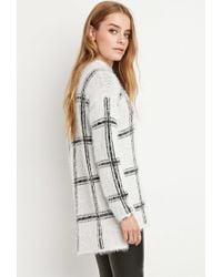 Forever 21 - White Eyelash Knit Plaid Sweater - Lyst