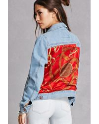 Forever 21 | Red Repurposed Satin Patch Jacket | Lyst