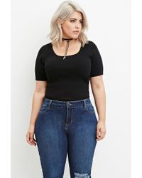 Forever 21 - Black Plus Size Classic Ribbed Top - Lyst