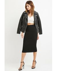 Forever 21 | Black Contemporary Ribbed Knit Pencil Skirt | Lyst