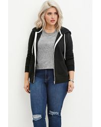Forever 21 - Black Plus Size Zip-up Hoodie - Lyst