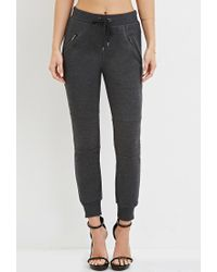 Forever 21 | Gray Zippered Moto Joggers | Lyst