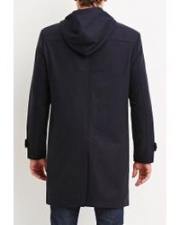 Forever 21 - Blue Toggle-front Hooded Coat for Men - Lyst