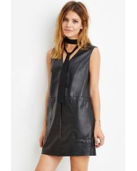 Forever 21 | Black Contemporary Faux Leather Shift Dress | Lyst