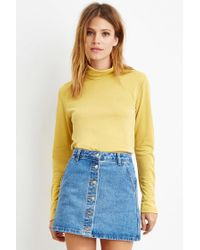 Forever 21 | Yellow Buttoned-turtleneck Top | Lyst