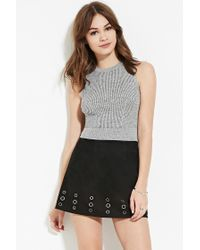 Forever 21 | Gray Marled Ribbed Knit Top | Lyst