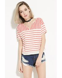 Forever 21   Natural French Terry-striped Boxy Top   Lyst