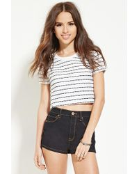 Forever 21 | White Textured Stripe Boxy Top | Lyst
