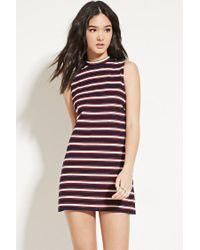 Forever 21 | Blue Striped Mock-neck Shift Dress | Lyst