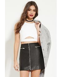 Forever 21 | White Cutout-front Crop Top | Lyst