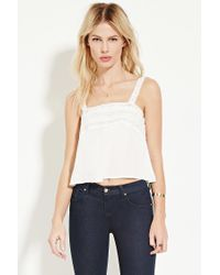 Forever 21   White Lace-trimmed Top   Lyst