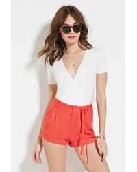 Forever 21 | Orange Cuffed Linen-blend Shorts | Lyst