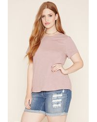 Forever 21 | Natural Plus Size Slub Knit Tee | Lyst