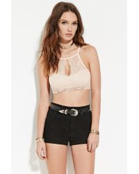 Forever 21 | Pink Scalloped Lace Cropped Cami | Lyst